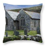 Cornish Seascape St Winwaloe Church Throw Pillow by Brian Roscorla