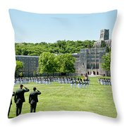 Corps Of Cadets Present Arms Throw Pillow by Dan McManus