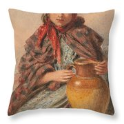 Cottage Girl Seated With A Pitcher Throw Pillow by William Henry Hunt