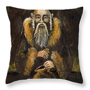 Counting The Gold Coins Throw Pillow by Angel  Tarantella
