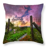 Country Garden Throw Pillow by Debra and Dave Vanderlaan