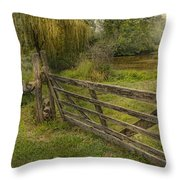 Country - Gate - Rural Simplicity  Throw Pillow by Mike Savad
