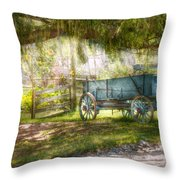 Country - The Old Wagon Out Back  Throw Pillow by Mike Savad