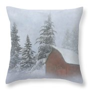 Country Winter Throw Pillow by Angie Vogel