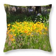 Countryside Cottage Garden 5D24560 Throw Pillow by Wingsdomain Art and Photography