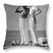 Couple On The Maine Shore Throw Pillow by Underwood Archives