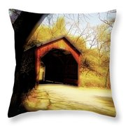 Covered Bridge 2 Throw Pillow by Cheryl Young