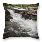 Covered Bridge And Waterfall Throw Pillow by Edward Fielding