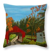 Covered Bridge Throw Pillow by Anthony Dunphy
