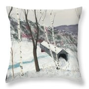 Covered Bridge Throw Pillow by George Burr