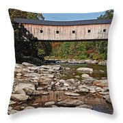 Covered Bridge Vermont Throw Pillow by Edward Fielding