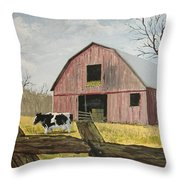 Cow And Barn Throw Pillow by Norm Starks
