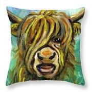 Cow Face 101 Throw Pillow by Linda Mears