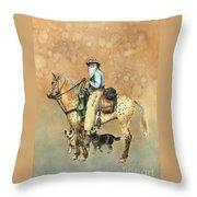 Cowboy And Appaloosa Throw Pillow by Nan Wright
