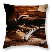 Cowboy Horseshoe Throw Pillow by Olivier Le Queinec