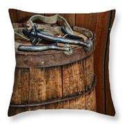 Cowboy Spurs On Wooden Barrel Throw Pillow by Paul Ward