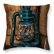 Cowboy Themed Wood Barrels And Lantern Throw Pillow by Paul Ward