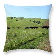 Cows Along The Rolling Hills Landscape of The Black Diamond Mines in Antioch California 5D22346 Throw Pillow by Wingsdomain Art and Photography
