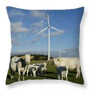 Cows And Windturbines Throw Pillow by Bernard Jaubert