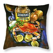 Crab Fixin's Throw Pillow by Dianne Parks