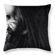 Cracked Face Throw Pillow by Erik Brede