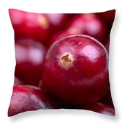Cranberry closeup Throw Pillow by Jane Rix