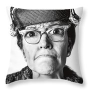 Cranky Old Lady Throw Pillow by Diane Diederich