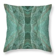Crashing Waves Of Green 2 - Panorama - Abstract - Fractal Art Throw Pillow by Andee Design