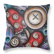 Crazy Button Mushrooms Throw Pillow by Krystyna Spink