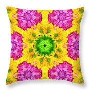 Crazy Daises - Spring Flowers - Bouquet - Gerber Daisy Wanna Be - Kaleidoscope 1 Throw Pillow by Andee Design
