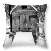Creepy Cabin In The Woods Throw Pillow by Edward Fielding