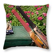 Cricket At The Club Throw Pillow by Tom Gari Gallery-Three-Photography