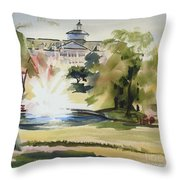 Crisp Water Fountain At The Baptist Home IIi Throw Pillow by Kip DeVore