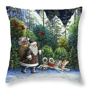 Cross-country Santa Throw Pillow by Lynn Bywaters