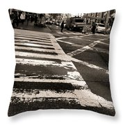 Crosswalk In New York City Throw Pillow by Dan Sproul