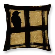 Crow And Golden Light Number 1 Throw Pillow by Carol Leigh