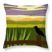 Crow In The Corn Field Throw Pillow by Val Arie