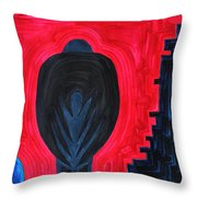 Crow original painting Throw Pillow by Sol Luckman