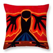 Crow Rising Original Painting Throw Pillow by Sol Luckman