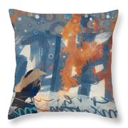 Crow Snow Throw Pillow by Carol Leigh