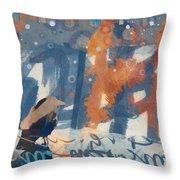 Crow Snow Throw Pillow by Carol Leigh