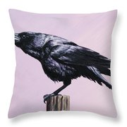 Crow - Sounding Off Throw Pillow by Crista Forest