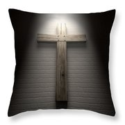 Crucifix On A Wall Under Spotlight Throw Pillow by Allan Swart