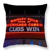 Cubs Win Throw Pillow by Steve Gadomski