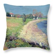 Curving Beach Throw Pillow by William James Glackens