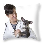 Cute Little Puppy With Vet Throw Pillow by Edward Fielding