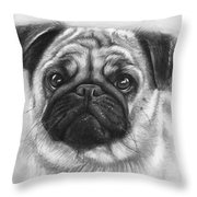 Cute Pug Throw Pillow by Olga Shvartsur