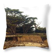 Cypress Trees On 17 Mile Drive Throw Pillow by Barbara Snyder