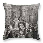 Cyrus Restoring the Vessels of the Temple Throw Pillow by Gustave Dore