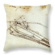 Da Vinci Flying Machine 1485 Throw Pillow by Science Source